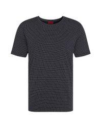 HUGO | Blue 'drid' | Cotton Printed T-shirt for Men | Lyst