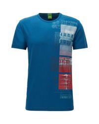 BOSS Green   Blue Regular-fit T-shirt In Stretch Single Jersey for Men   Lyst