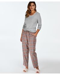 Pantalón de pijama Twill Check Hunkemöller de color Gray