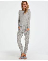 Hunkemöller Cadeauset Lange Pyjama Set Jersey in het Gray
