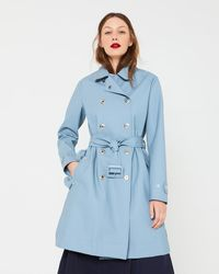 Hunter Blue Refined Perforated Trench Coat