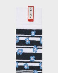 Hunter Blue Unisex Original Floral Stripe Knitted Knee High Socks for men