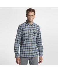 Hurley Blue Dri-fit Hemmingway Long Sleeve Shirt for men