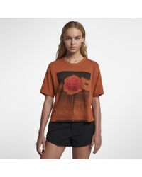 Hurley Multicolor Rosepalm Crop Perfect Crew T-shirt