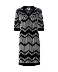 M Missoni | Black Bicolor Zig Zag V-neck Mini Dress | Lyst