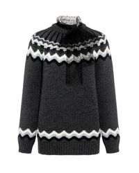 RED Valentino | Gray Lace Bow Nordic Crewneck Sweater | Lyst