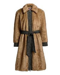 AlexaChung Multicolor Boss Faux Fur Panelled Knee Length Coat