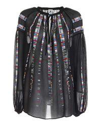 M Missoni Embroidery Silk Blouse In Black