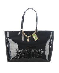 Versace Jeans Logo Embossed Black Vinyl Tote Bag