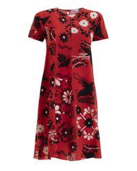 RED Valentino Flower Print Silk Crepe De Chine Flared Dress