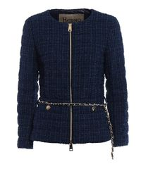 Herno Blue Belted Boucle Down Jacket