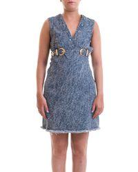 Versace Jeans Blue Denim Flared Dress