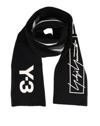 Y-3 Black Jacquard Logo Wool Blend Scarf for men