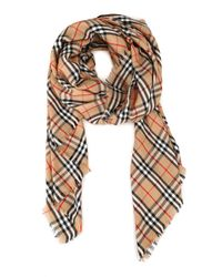 Burberry Natural Embroidered Vintage Check Cashmere Scarf