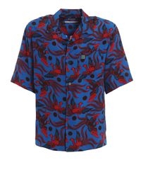 KENZO Blue Flying Phoenix Viscose Hawaiian Shirt for men