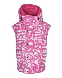 DSquared² Purple Branded Down Jacket In Fuchsia And White