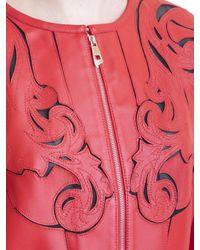 Giacca in pelle con intagli barocchi di Versace in Red