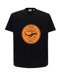 T-shirt Shark Graphic di Burberry in Black da Uomo
