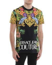 T-shirt con stampa floreale barocca di Versace Jeans in Multicolor da Uomo