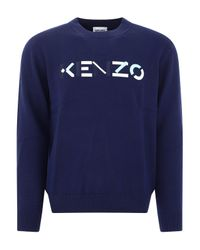 KENZO Blue Logo Embroidery Sweater for men
