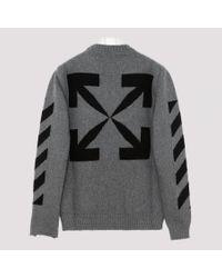 Off-White c/o Virgil Abloh Gray Men's Arrow Intarsia Knit Raw-edge Sweater for men