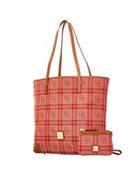 Dooney & Bourke - Red Db Plaid Jacquard Everyday Tote With Wristlet - Lyst