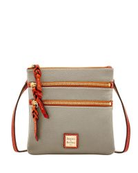 Dooney & Bourke - Gray Pebble Triple Zip Crossbody - Lyst