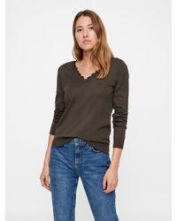 Vero Moda Brown Spitzen V-Ausschnitt Pullover