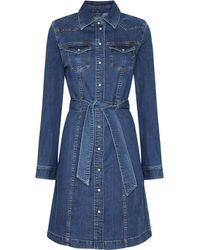 Pepe Jeans Jeanskleid JULIE BLUE, mit vielen tollen Details und Gürtel zum Binden