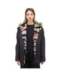 Yves Salomon Black Cotton Melange Fox Fur Coat