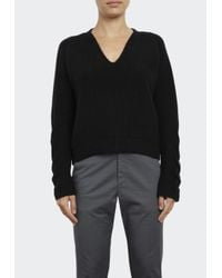 INHABIT   Black Luxe Cashmere V-neck With Cable Knit Sleeve   Lyst