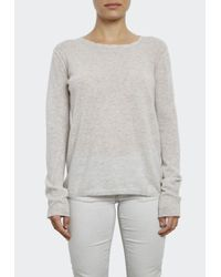 INHABIT | Gray Extra Fine Cashmere Tee With Pointelle | Lyst