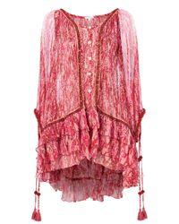 Poupette Red Bety Silk Poncho Dress