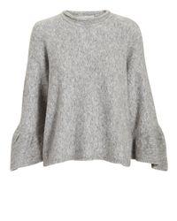 3.1 Phillip Lim Gray Ruffle Sleeve Grey Sweater