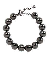 Oscar de la Renta - Black Gunmetal Beaded Necklace - Lyst