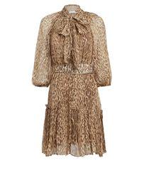 Zimmermann Brown Espionage Print Silk Dress