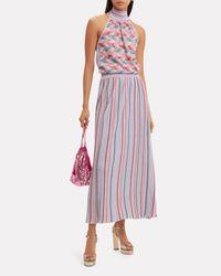 Missoni Purple Lurex Striped Midi Skirt