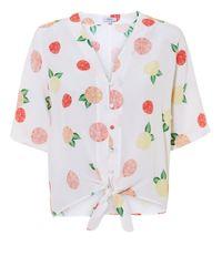 Rails Multicolor Thea Citrus-print Silk Tie-front Top