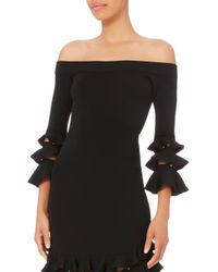 Jonathan Simkhai - Black Off Shoulder Slashed Knit Dress - Lyst