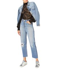 Re/done Blue High-rise Zip Detail Relaxed Jeans