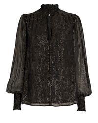 A.L.C. Black Silvie Striped Silk Chiffon Blouse