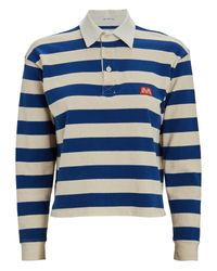 Mother Blue Cropped Stripe Polo Top