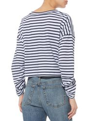 A.L.C. Blue Madison Stripe Ruched Long Sleeve Cropped Tee