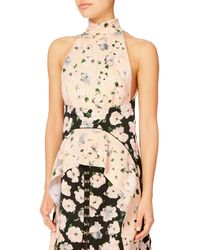 Proenza Schouler - Mock Neck Pink Floral Dress - Lyst