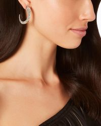 Sarah Magid - Metallic Pavé Slice Medium Hoop Earrings - Lyst