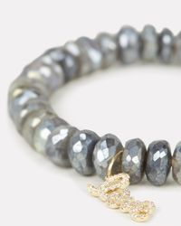 Sydney Evan - Metallic Love Charm Pavé Bracelet Silver/gold 1size - Lyst