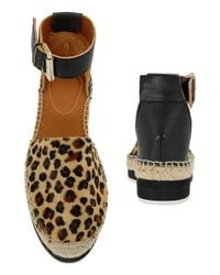 See By Chloé - Multicolor Leopard Print Calfhair Flat Espadrille - Lyst