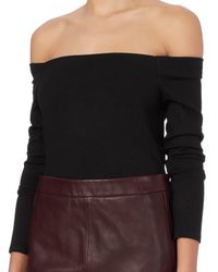 L'Agence - Black Cynthia Off The Shoulder Ponte Top - Lyst