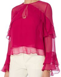 Exclusive For Intermix - Pink Melly Ruffle Keyhole Blouse - Lyst