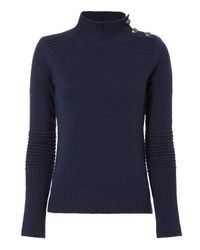 Exclusive For Intermix   Blue Belle Button Open Back Sweater   Lyst